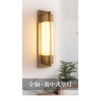 新中式壁灯客厅电视背景墙中国风现代楼梯卧室全铜云石床头过道灯