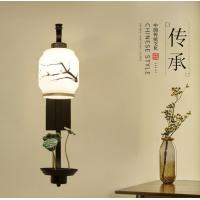 led床头新中式壁灯 玻璃灯罩创意简约走廊过道背景墙壁灯具中国风JJ0362