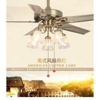 锦丽吊扇灯餐厅风扇灯欧式复古带电扇的灯具家用客厅卧室风扇吊灯JJ0345