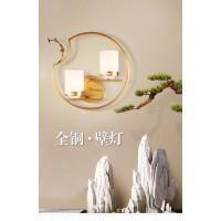 全铜圆形新中式壁灯客厅背景墙卧室书房玻璃灯罩简约大气装饰灯具