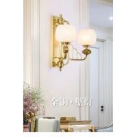 新中式双头壁灯客厅墙壁简约灯具全铜卧室酒店会所壁灯创意过道灯