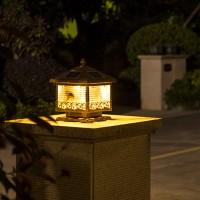 太阳能柱头灯户外防水别墅庭院灯室外简约椰树花园围墙大门柱子灯HW0304