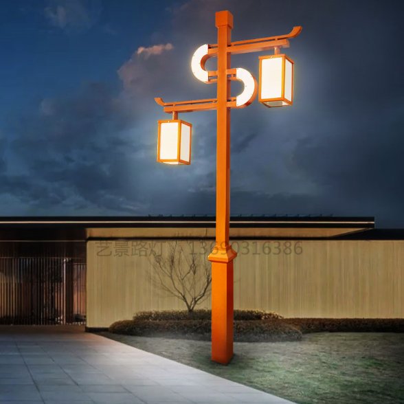 中式庭院灯定制户外花园双头景观照明灯led仿古庭院高杆灯HW0314